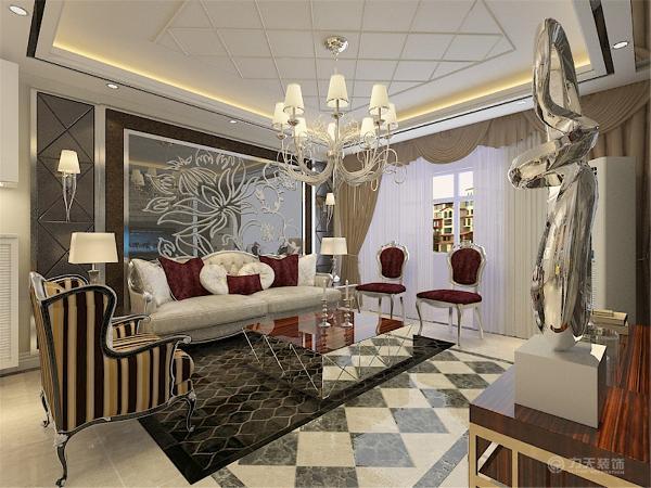 沙发背景墙和电视背景墙相呼应,同样采用了灰镜材质,沙发在背景墙的映衬下显得非常贵气。