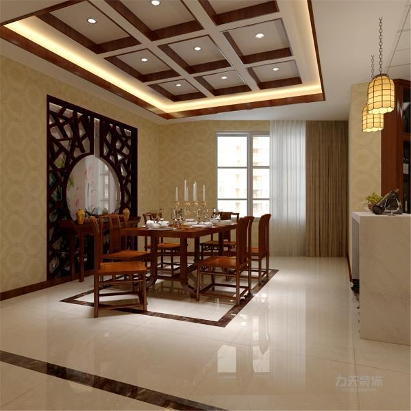 地砖使用米黄色地砖,既在色调上反差不大,又活跃了空间氛围,增加透气感。搭配一副中式画,灯具的选择上以点光源为主,分散照亮,使空间褪去陈旧的气息。餐厅区域墙布置了几个的子柜,弥补墙的空白。