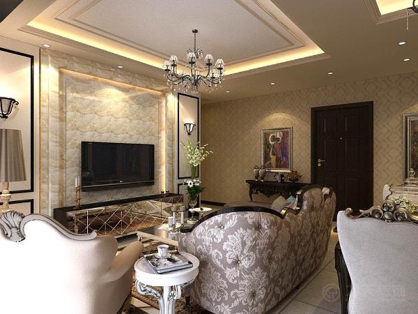 客餐厅地面采用米黄色800*800地砖加拼花,墙面使用浅色大马士革壁纸壁纸即不显过度奢华,又不乏低调时尚。