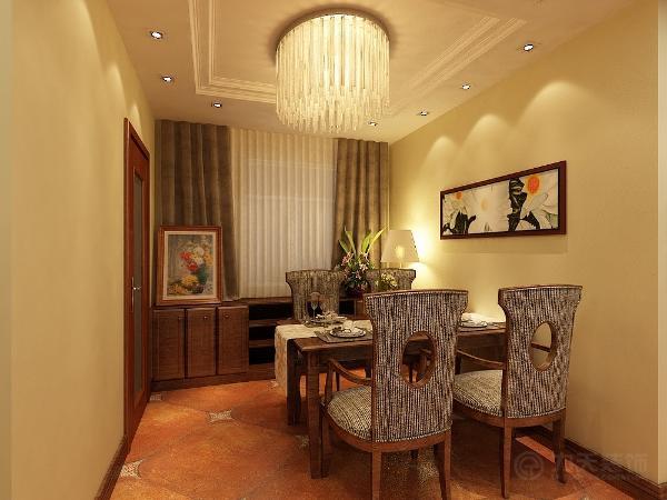 餐厅区在沙发的旁边,餐桌椅的材质和风格与沙发相一致。顶面与客厅保持一致。地面是和客厅一致的800*800复古砖。