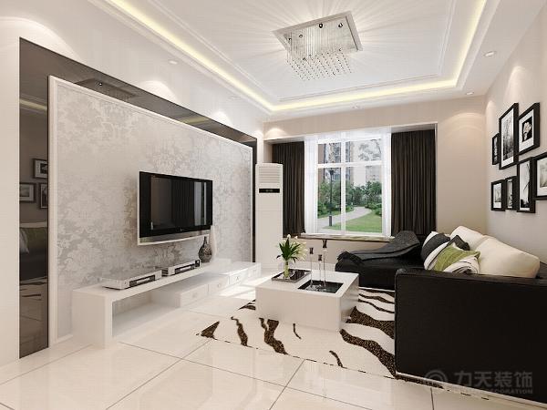 客厅整体色调为黑白灰,黑色的沙发与电视柜的对比,使整个空间不至于太灰暗,黑色沙发与绿色抱枕搭配,使家具倍感时尚,具有舒适与美观并存的享受。