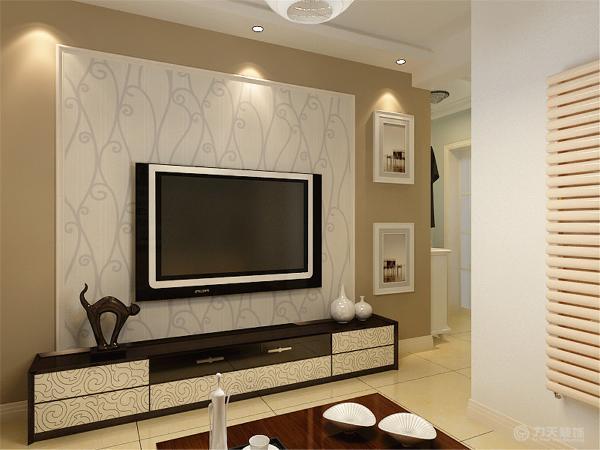 本案在室内,墙体大部分采用淡蓝色,室内家具采用浅色家具为主,沙发背景墙贴深色壁纸,放装饰画,墙上放展示架,既起到修饰作用,沙发采用浅色沙发