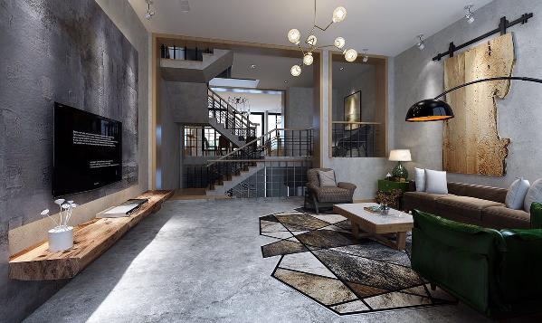 腾龙设计 周峻作品 客厅图片来自周峻在昆山紫竹园别墅后现代工业风的图片