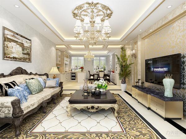 客厅的电视背景墙做了造型,选了很豪华的家具,使空间看起来很奢华,也体现了业主的地位与品味。
