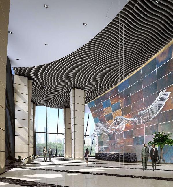 磊富的金属墙系列被完美运用在冶金大厦的进门背景墙上。金属被烧制成渐变色,美观大方充满现代感,金属板轻薄便于施工。