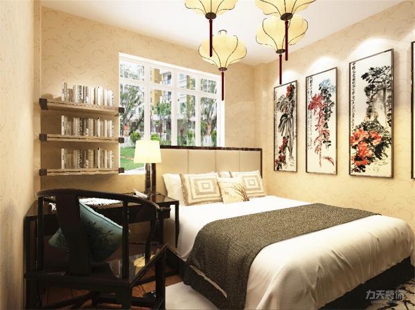 主卧床头背景墙以整副山水画作为背景,又用一张较为明亮的荷花作为点缀,双人床选用古典家具,窗台石为白色大理石,地面选择实木复合地板。