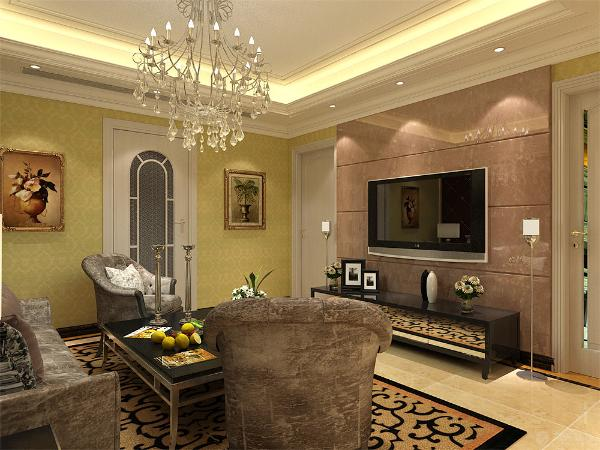 电视,沙发背景墙简洁大方,灯光柔和,让业主可以释放工作中的压力,得到纯粹的放松。