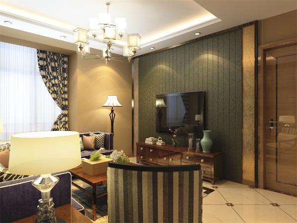 客厅区域采用回字形吊顶加以灯带和餐厅区域采用U字形吊顶加以灯带,餐桌背景墙使用木地板上墙,给人一种临近自然、温馨舒适的感觉。