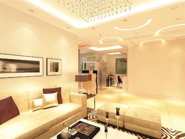 沙发采用浅咖色布艺沙发,给人以大气庄重的感觉,不需要太多的装饰和颜色,沙发背景墙采用照片墙形式。周围墙面用的都是浅咖色的乳胶漆。