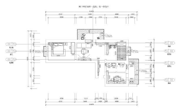 本案例为天津市金田花园75平米户型,属于二手房改造,整体来说户型呈L形,从入户门开始,自顺时针方向依次是餐厅,厨房干湿卫生间,次卧、客厅、主卧、客厅处于房子的中间位置,带有观景阳台,但面积较小。
