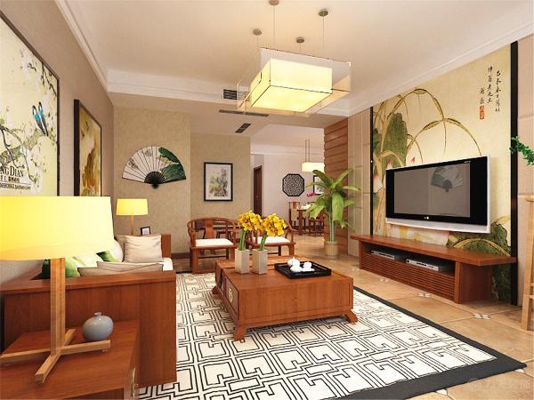 沙发背景墙贴了一个带纹理的壁纸,用两个装饰画来点缀整个墙面。沙发的造型比较简单,但显得真个空间十分的干净。