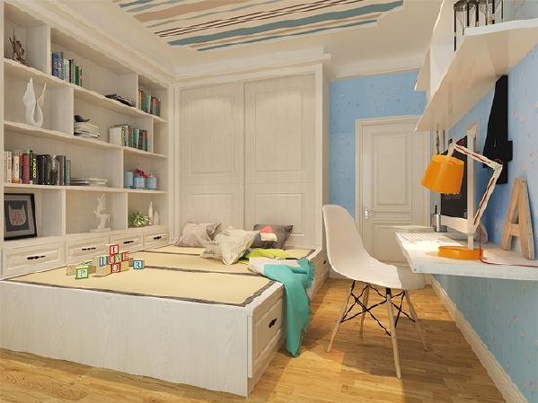 在现代元素的基础上,儿童卧室装修过程中添加了一些欧式符号,增添一些具有特色的家具,让儿童房的氛围趋向简约,同时在现代软装材质上突出简约个性,低调而不脱俗。
