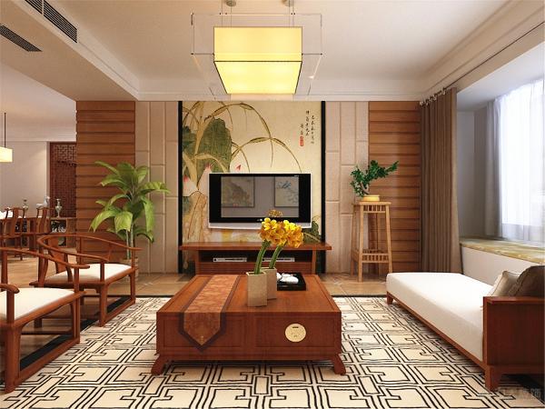 客厅背景墙运用了丰富的造型,分为三个部分,最外边为生态木,其次是一个咖灰色的硬包,最中间是一个大的装饰画,装饰画用黑镜圈边,具有时尚感。