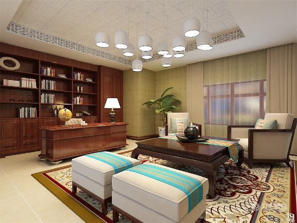 沙发的选择以及沙发背景墙的设计在选材和颜色上都稳重及豪华,背景墙则用佛头的木质雕像以及两边的木质雕花隔板把客厅和休闲去分开