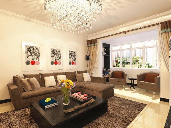 地面铺800*800地砖,电视背景墙以简单的电视柜及书架为主,沙发背景墙以挂画做装饰,整个空间氛围更具活力,简单的诠释了后现代风格的特点;简单却不乏味。