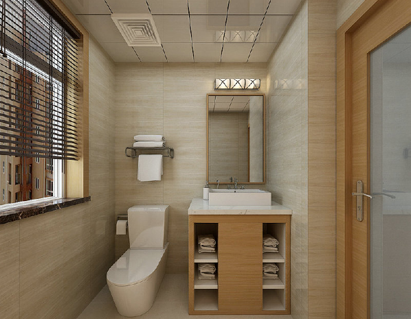 卫生间选用浅色地砖统一了墙面,隐约闪烁出的肌理是空间中动人的一幕,令简式木质盥洗台也多了些别雅。