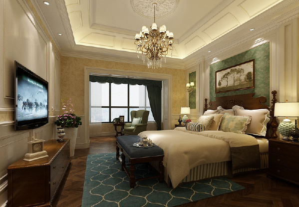 卧室充满了美式风,墙壁采用了浅黄和水绿花纹壁纸做装饰,白色护墙板突显空间的立体感。土黄色床品柔软舒适中带着自然恬淡的气息,墨蓝地毯上图案增强空间层次。
