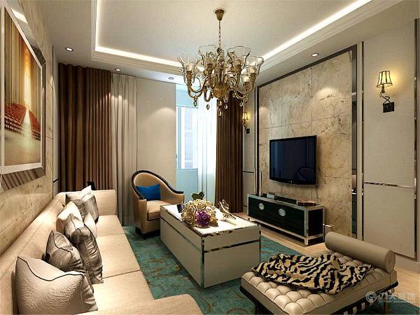 电视背景墙与沙发背景墙都是以花色大理石上墙为主,四周以黑色收边,显得时尚大气。沙发背景墙又配以一幅具有欧式风格的挂画加以装饰。