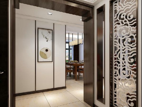 走廊中粗粝地陶罐将淳朴的中式民风形象地引入室内,伴着潺潺流水创意着生活周而往复的意向,让生活更趋向于有效循环发展。