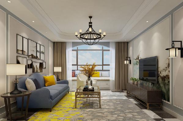 精简的客厅充满了艺术的气质,无论是沙发墙上的挂画,亦或是电视墙上的写意背景图,再者地毯上灰、白、黄摇曳自然风情的泼墨图案,使洒脱随性的美式客厅融合中式古典雅韵。