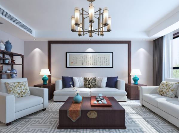 中性调的空间里维持着清浅、优雅的格调,利用褐木框构出书法展示区,蕴含着传统文化;方体边几和茶几来自同一设计,却奠定了整个空间的中式艺术;乳色沙发与灰色几何地毯因蓝色陶瓷灯而清新。