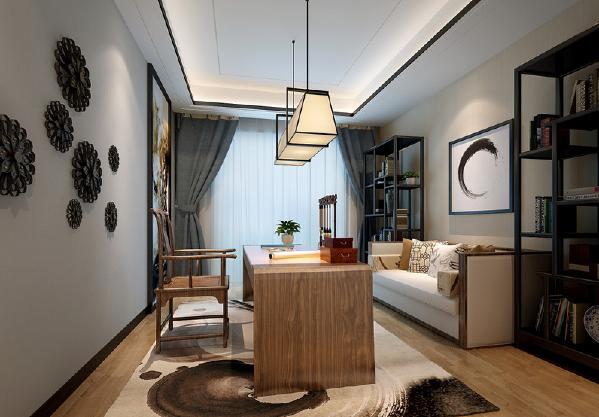 书房中将现代家具和新中式木质家具相融合,缓和不同时代带来的冲突性,融合地更为得体;铁艺花型饰品雕琢着墙面,天然雕饰着新中式的轻美。