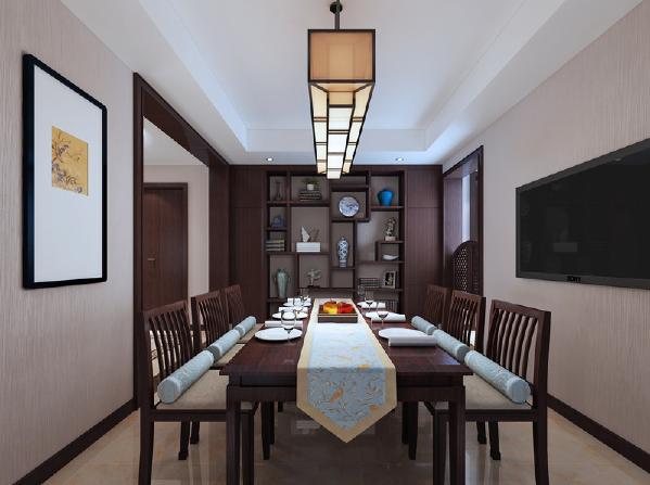 餐厅中除了简式新中式家具外,最吸睛的要属博古台上的古董器件了,除了别致的造型外,考究的设计和悠久的历史积淀足以令人为之倾倒。