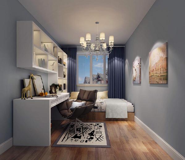 蓝色营造平和的空间气氛,最适合男孩子房。小空间的卧室里兼具书房功能,打造实用主义。书台与床具上方空间安置了高低格子架,用于摆放书籍和物品,涂鸦地毯流露出童趣来。