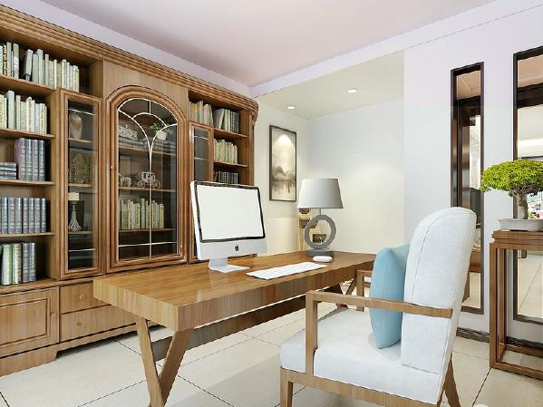 书房将喧闹挡在门外,原木家具给予踏实,白色布艺椅子上的蓝色靠垫更为这个清简的空间注入了一丝清爽,让学习也变得愈加愉悦