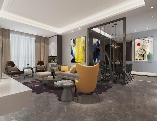 从这个角度看过去,明黄的沙发背景墙布景与镂空隔断巧妙结合,虚实相生,使得餐厅的装饰元素同时与客厅灵活衔接。