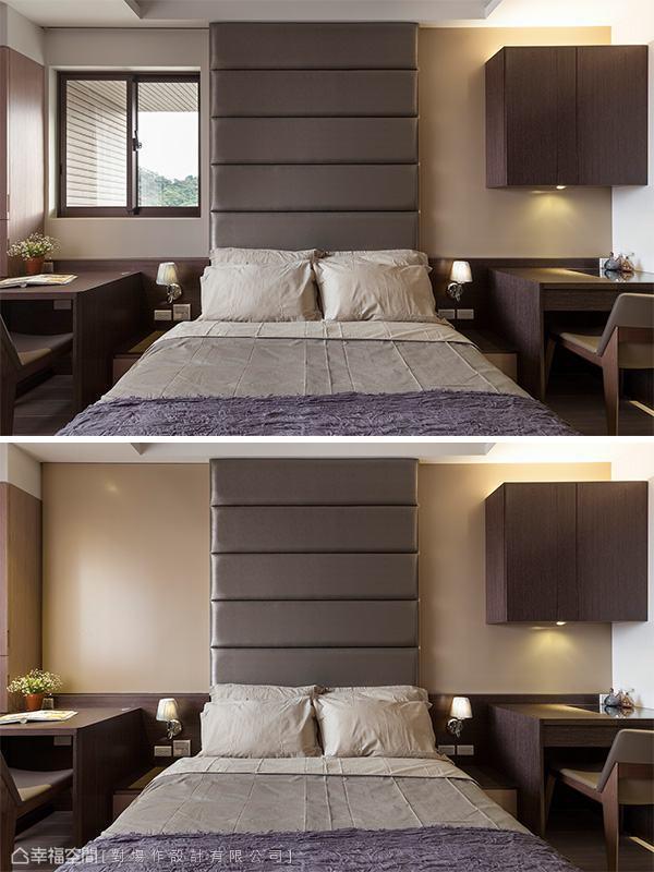 来到主卧,床头背墙的吊柜、绷布与隐藏式的窗户拉门,让空间饶富层次堆栈,也附加了使用的机能性。