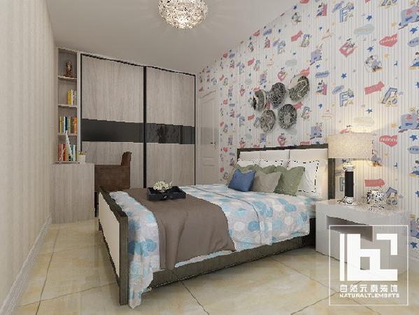 儿童房 素色床品配以彩色墙纸 使整体氛围具备灵动,清新的特质 比如将将儿童房与小书房和为一体 为小朋友创造了安静的学习环境