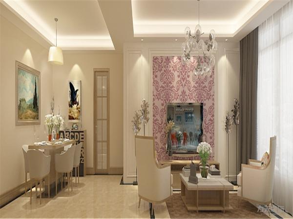 餐厅空间吊顶采用石膏板回字形吊顶造型,卧室四周石膏顶角线包边增强空间点线面的完美结合,使空间很大方,富有节奏韵律。