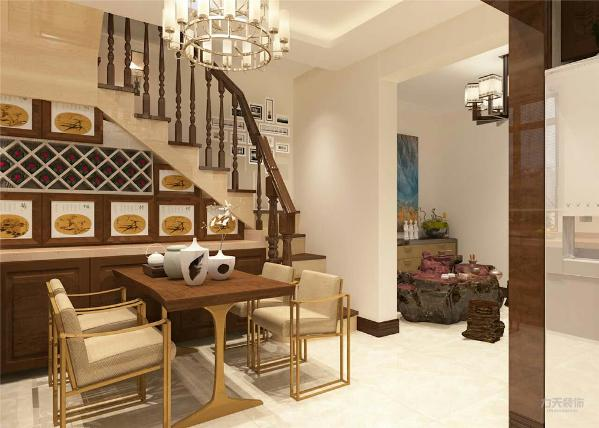 本案的设计风格为新中式风格。本案户型的流线较为简单、实用。客厅、卧室、厨房形成独立而又完整的空间,空间功能分布合理。