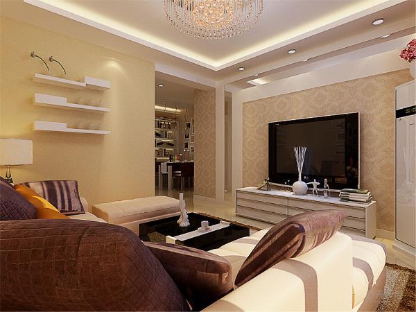 地面采用白色大理石墙面耍大麦色乳胶漆,电视背景墙与餐厅背景墙运用镜面,壁纸,和挂画。