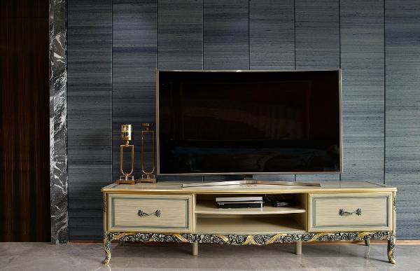 太原实创装饰-富力熙悦居-157平-四居室-简欧风格装修-效果图-电视背景墙