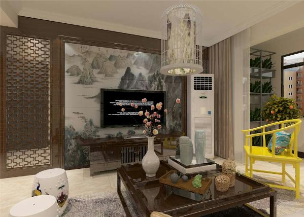 同时电视背景墙与沙发背景墙相呼应,电视背景墙是水墨背景壁纸,沙发背景墙则简单挂了几幅水墨挂画,十分大气,入户设置了茶海方便主人喝茶享受,也方便接待客人。