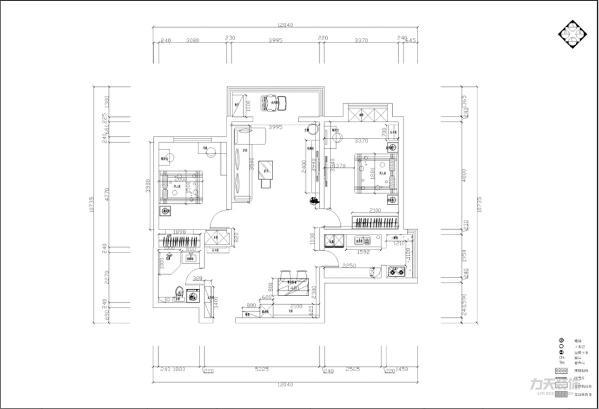 本户型为金旺东里两室两厅一厨一卫120平户型,首先,从入户门进入,左边映入眼帘的是通顶的玄关柜,玄关柜的旁边是卫生间的入口,右手边是餐厅,空间相对较大,使空间看起来格外开阔。