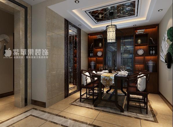 富力华庭三居室中式风格装修设计之餐厅