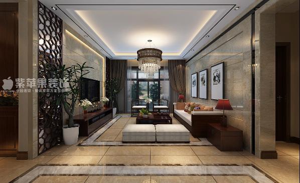 富力华庭三居室中式风格装修设计之客厅