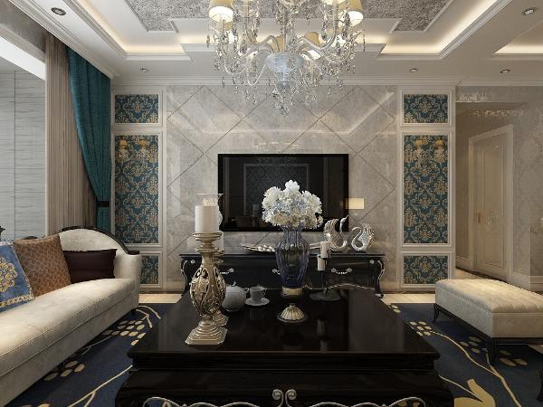 府东公馆三居室简欧风格装修设计之客厅
