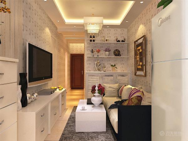 沙发背景墙加挂画,在沙发旁放柜子,柜子上面加隔板,既可以增加储物空间,又可以加一装饰,阳台隔开,一半用来做厨房。