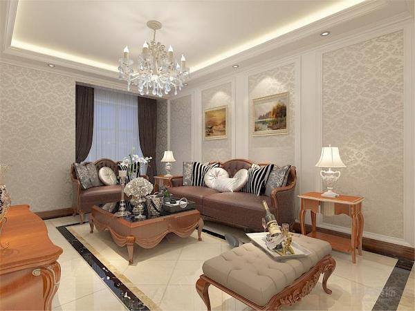 电视背景墙和沙发背景采用欧式花纹壁纸,墙面采用暖色墙漆及挂画装饰。