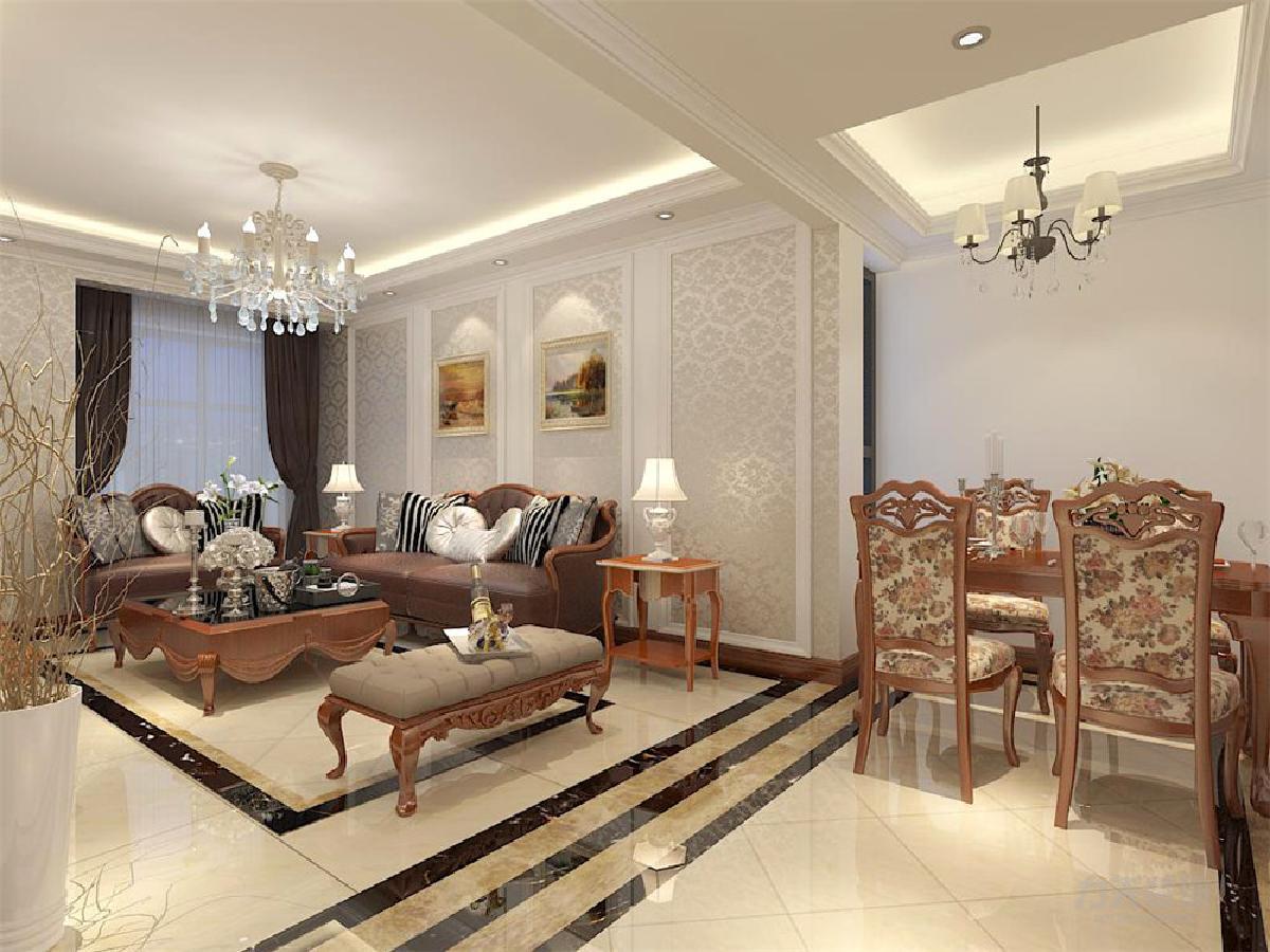背景采用欧式花纹壁纸,墙面采用暖色墙漆及挂画装饰,餐桌采用欧式古典