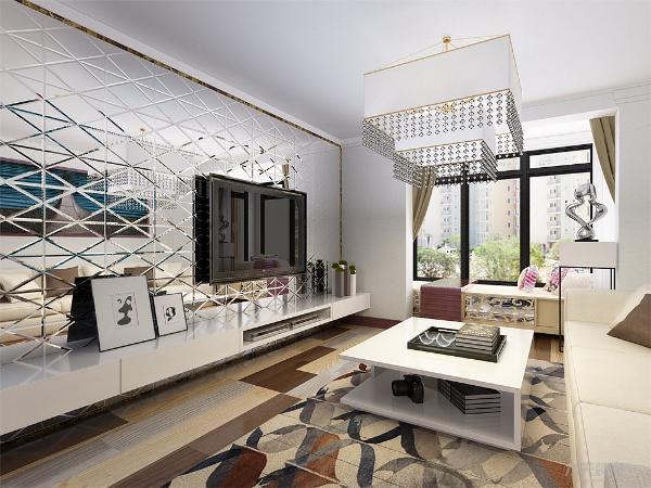 该空间为现代风格,大胆使用了撞色地板以及沙发,白色的茶几作为点缀,阳台上的巨大空间被设计成为一个卡座,可躺可坐。