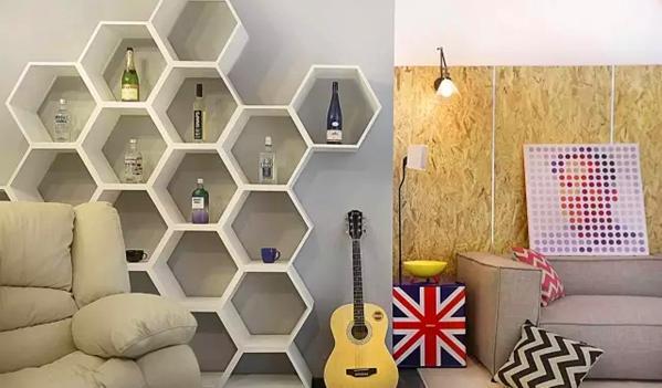 ▲ 六边形的镂空酒柜,搭配芝华士功能沙发,这是享受生活的角落