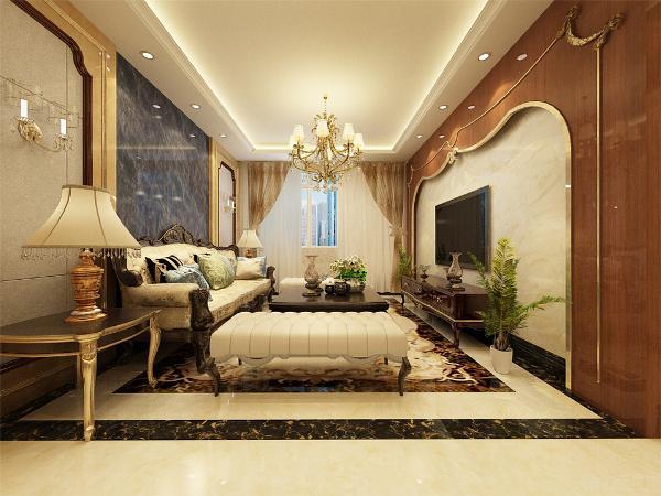 沙发两侧分别有一个小的柜子,放置了台灯,便于业主夜里可以防止磕绊摔倒,也可以放些随身的小物件。茶几上也可以放书刊,各种物品,方便业主生活。