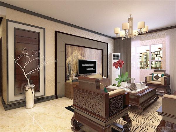 地面部分做了造型简洁的地面拼花,使地面空间显得不会太单调。客厅的电视背景墙充分体现了新中式的特点。
