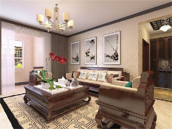 沙发背景墙并没有太多的造型,放了三幅中式的挂画简洁大方。沙发以及电视柜都是典型的新中式的家居显得大气典雅。