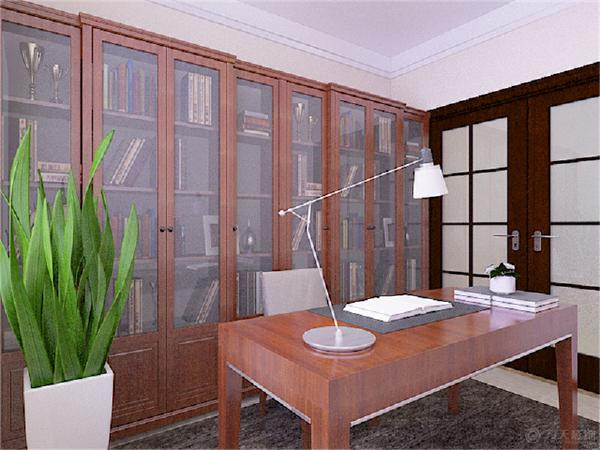 书房空间色调比较沉稳,给人一种踏实的感觉。过道空间较长,做了石膏板吊顶造型使整个空间不至于太单调显得过于长。
